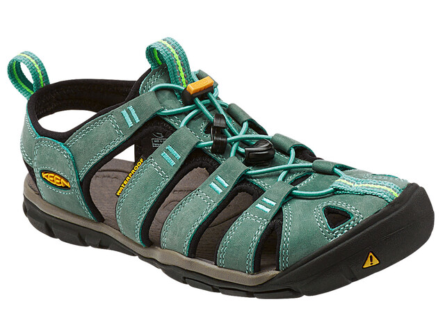 Keen Clearwater CNX Leather Sandals Women Mineral Blue/Yellow